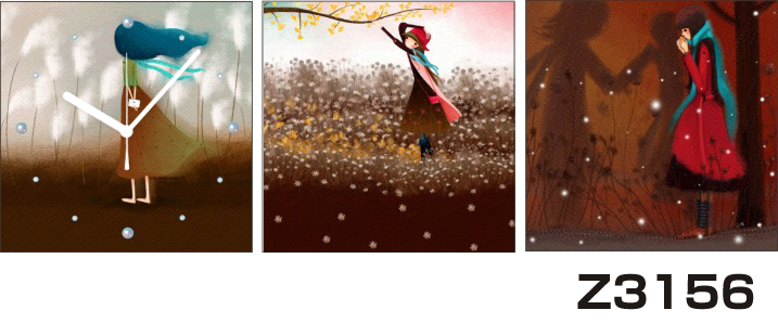日本初!300種類以上のデザインから選ぶパネルクロック◆3枚のアートパネルの壁掛け時計◆hOur DesignZ3156女の子 雪【イラスト】【代引不可】 送料無料 新生活 引越