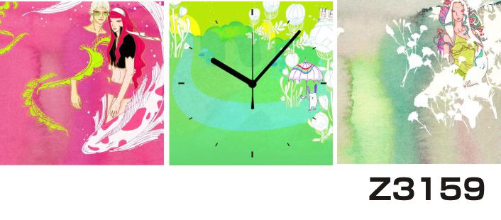 日本初!300種類以上のデザインから選ぶパネルクロック◆3枚のアートパネルの壁掛け時計◆hOur DesignZ3159女性【イラスト】【代引不可】 送料無料 新生活 引越