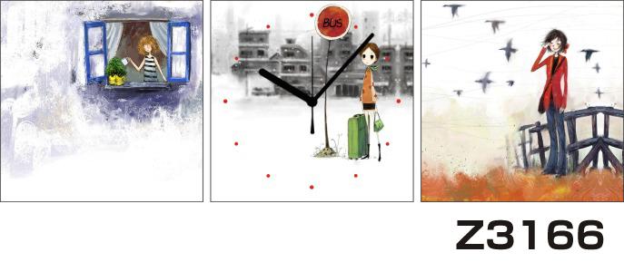 日本初!300種類以上のデザインから選ぶパネルクロック◆3枚のアートパネルの壁掛け時計◆hOur DesignZ3166女の子 【イラスト】【代引不可】 送料無料 新生活 引越