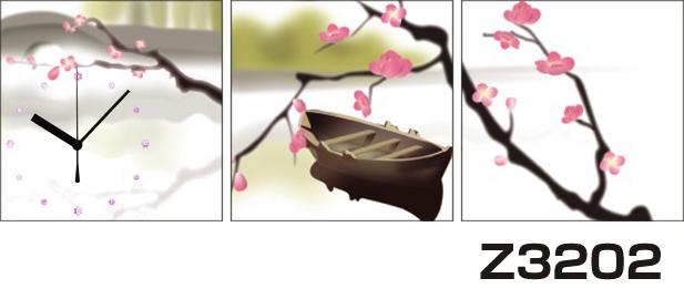 日本初!300種類以上のデザインから選ぶパネルクロック◆3枚のアートパネルの壁掛け時計◆hOur DesignZ3202梅【アート】【花】【アジア】【代引不可】 送料無料 新生活 引越
