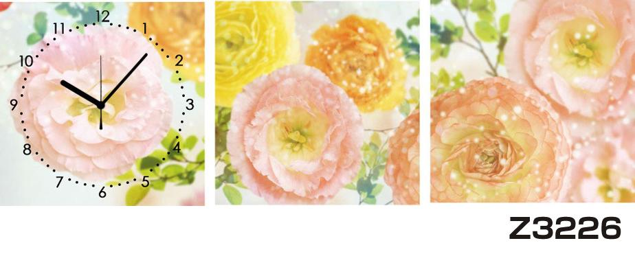日本初!300種類以上のデザインから選ぶパネルクロック◆3枚のアートパネルの壁掛け時計◆hOur DesignZ3226【花】【代引不可】 送料無料 新生活 引越