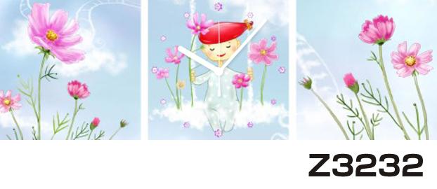 日本初!300種類以上のデザインから選ぶパネルクロック◆3枚のアートパネルの壁掛け時計◆hOur DesignZ3232【イラスト】【アート】【花】【代引不可】 送料無料 新生活 引越