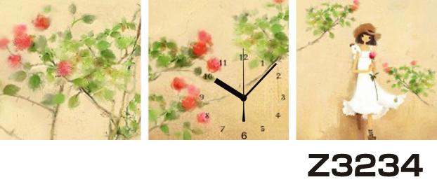 日本初!300種類以上のデザインから選ぶパネルクロック◆3枚のアートパネルの壁掛け時計◆hOur DesignZ3234女性【イラスト】【アート】【花】【代引不可】 送料無料 新生活 引越