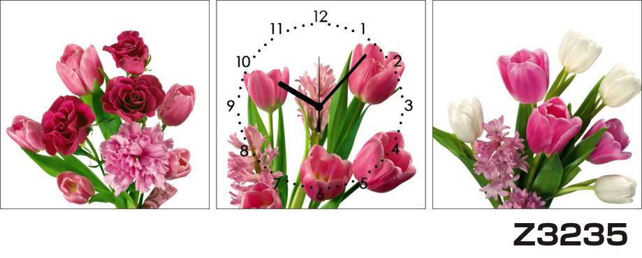 日本初!300種類以上のデザインから選ぶパネルクロック◆3枚のアートパネルの壁掛け時計◆hOur DesignZ3235チューリップ 薔薇【花】【代引不可】 送料無料 新生活 引越