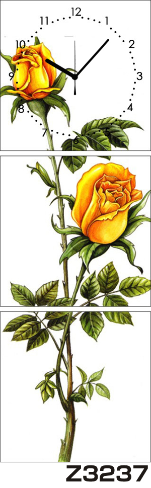 日本初!300種類以上のデザインから選ぶパネルクロック◆3枚のアートパネルの壁掛け時計◆hOur DesignZ3237薔薇【アート】【花】【代引不可】 送料無料 新生活 引越
