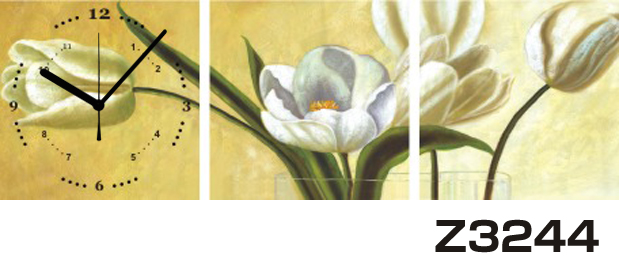 日本初!300種類以上のデザインから選ぶパネルクロック◆3枚のアートパネルの壁掛け時計◆hOur DesignZ3244【アート】【花】【代引不可】 送料無料 新生活 引越