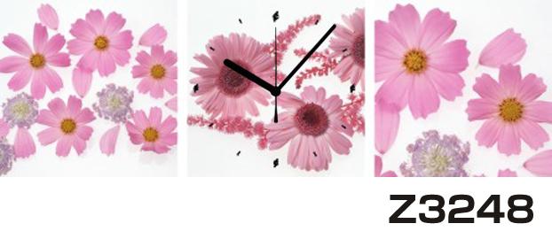 日本初!300種類以上のデザインから選ぶパネルクロック◆3枚のアートパネルの壁掛け時計◆hOur DesignZ3248【花】【代引不可】 送料無料 新生活 引越