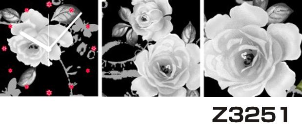 日本初!300種類以上のデザインから選ぶパネルクロック◆3枚のアートパネルの壁掛け時計◆hOur DesignZ3251モノクローム 薔薇【アート】【花】【代引不可】 送料無料 新生活 引越