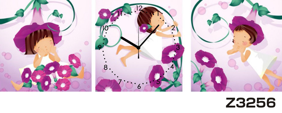 日本初!300種類以上のデザインから選ぶパネルクロック◆3枚のアートパネルの壁掛け時計◆hOur DesignZ3256女の子【イラスト】【花】【代引不可】 送料無料 新生活 引越