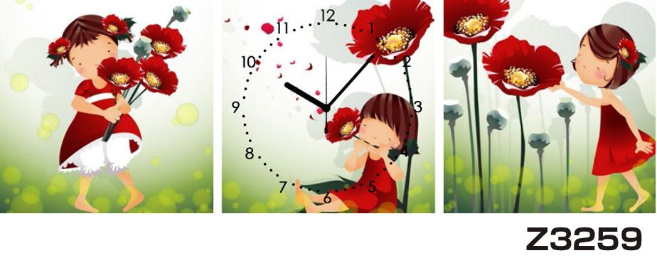 日本初!300種類以上のデザインから選ぶパネルクロック◆3枚のアートパネルの壁掛け時計◆hOur DesignZ3259女の子【イラスト】【花】【代引不可】 送料無料 新生活 引越