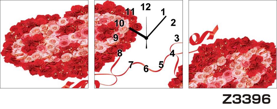 日本初!300種類以上のデザインから選ぶパネルクロック◆3枚のアートパネルの壁掛け時計◆hOur DesignZ3396薔薇【アート】【花】【代引不可】 送料無料 新生活 引越
