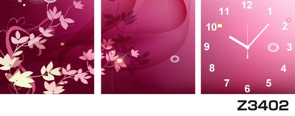 日本初!300種類以上のデザインから選ぶパネルクロック◆3枚のアートパネルの壁掛け時計◆hOur DesignZ3402【アート】【花】【代引不可】 送料無料 新生活 引越
