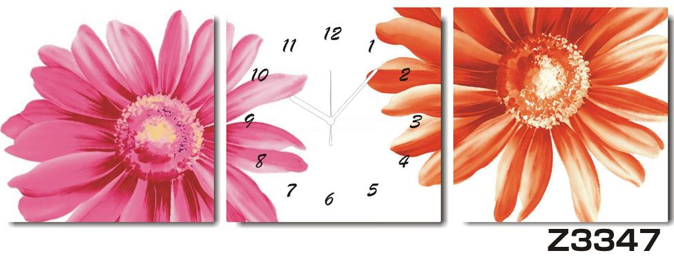 日本初!300種類以上のデザインから選ぶパネルクロック◆3枚のアートパネルの壁掛け時計◆hOur DesignZ3347【花】【代引不可】 送料無料 新生活 引越