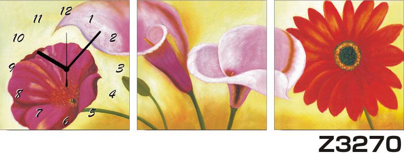 日本初!300種類以上のデザインから選ぶパネルクロック◆3枚のアートパネルの壁掛け時計◆hOur DesignZ3270【花】【代引不可】 送料無料 新生活 引越