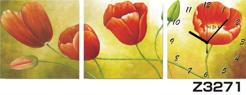 日本初!300種類以上のデザインから選ぶパネルクロック◆3枚のアートパネルの壁掛け時計◆hOur DesignZ3271【花】【代引不可】 送料無料 新生活 引越