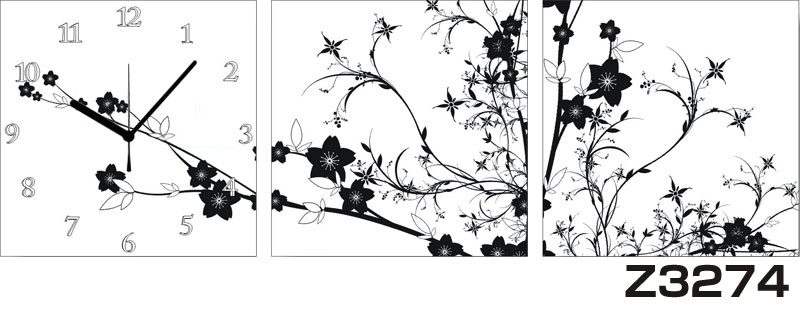 日本初!300種類以上のデザインから選ぶパネルクロック◆3枚のアートパネルの壁掛け時計◆hOur DesignZ3274【花】【代引不可】 送料無料 新生活 引越
