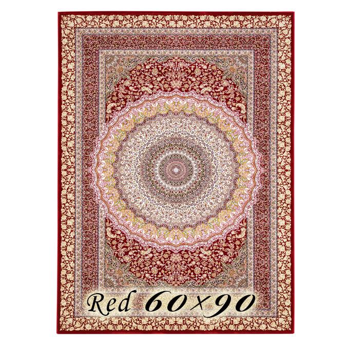 ラグ カーペット ローレア 60×90cm N7 レッド ベルギー製 ウィルトン織 高級 絨毯 厚手 【送料無料】【代引不可】