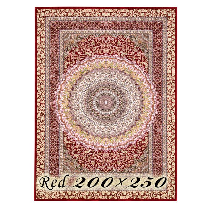 ラグ カーペット ローレア 200×250cm N7 レッド ベルギー製 ウィルトン織 高級 絨毯 厚手 【送料無料】【代引不可】