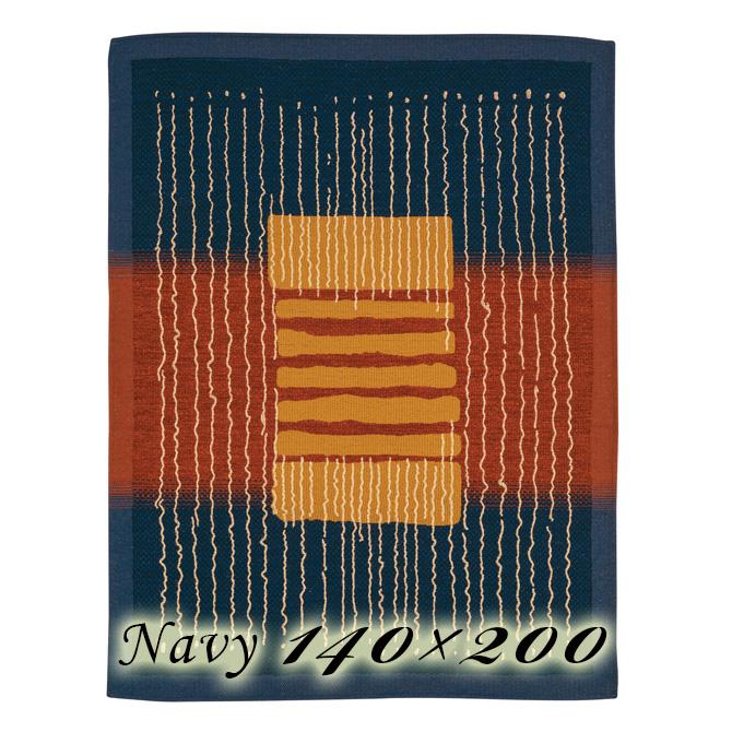 ラグ カーペット ジェレミ 140×200cm ネイビー イタリア製 ゴブラン織 高級 絨毯 厚手 【送料無料】【代引不可】