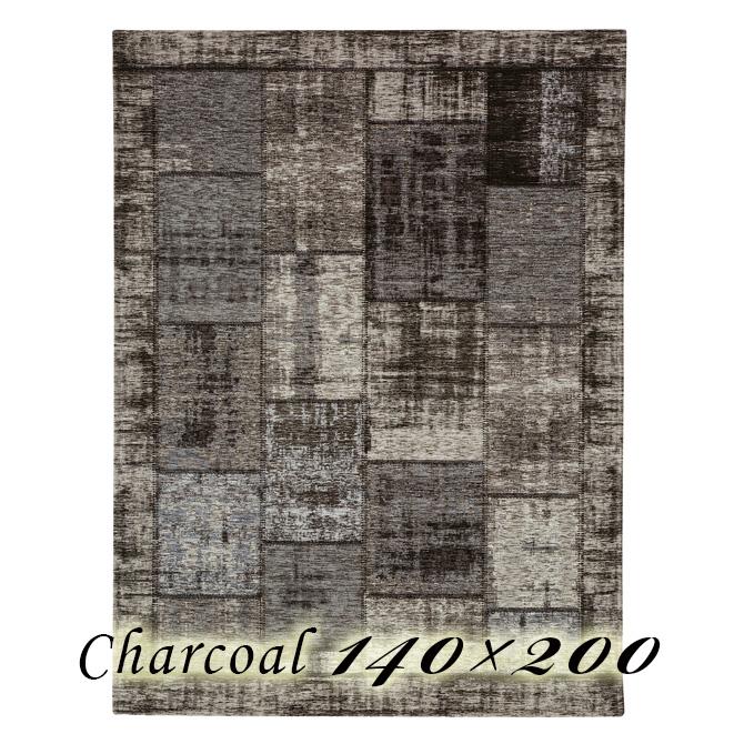 ラグ カーペット ミルドナ 140×200cm チャコール ベルギー製 ゴブラン織 高級 絨毯 厚手 【送料無料】【代引不可】