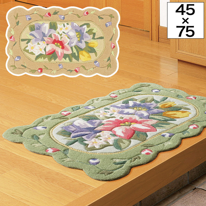 玄関マット ラグ リオン 約45×75cm 花柄 バラ グリーン/ローズ ドアマット キッチンマット ラグ エントランス エレガント アンティーク風 上品 おしゃれ 可愛い 滑り止め加工 室内 フラワー