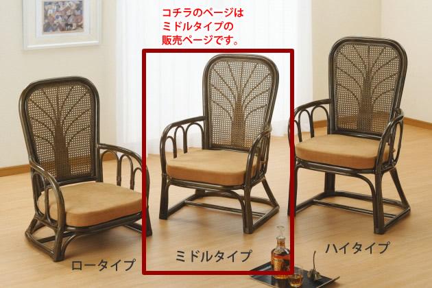 和室にも洋室にも似合う、ぬくもり感あるやさしい表情。 ハイパックアームチェアーミドルタイプ イス・チェア 座椅子 籐製 送料無料 新生活 引越