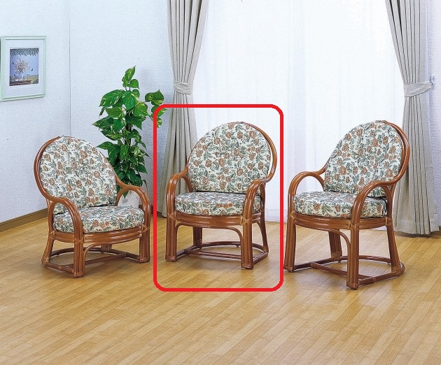 クッションには豪華で上品な高級ジャカード織生地を使用。 アームチェアーミドルタイプ イス・チェア 座椅子 籐製 送料無料 新生活 引越