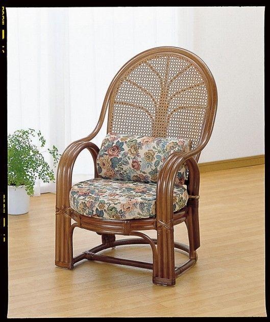 腰の負担を軽くするハイバックタイプ。 アームチェアー イス・チェア 座椅子 籐製 送料無料 新生活 引越