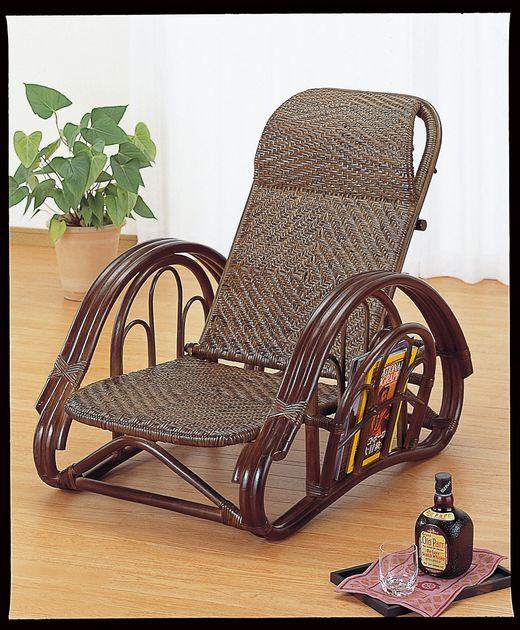 和洋室問わずお部屋に溶け込むデザインです。 籐リクライニング座椅子 ダークブラウン色 イス・チェア 籐製 送料無料 最安値に挑戦 新生活 引越