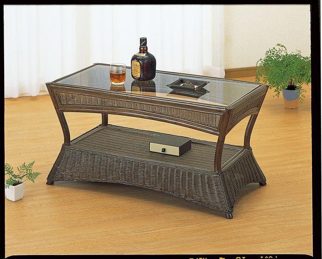 モダンでシックなダークブラウンカラーです。 テーブル 籐製 ラタン 送料無料 最安値に挑戦 新生活 引越