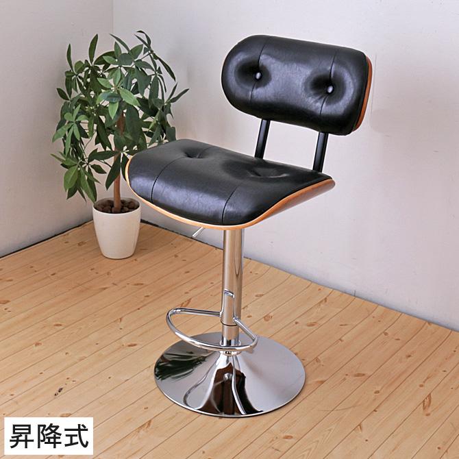 カウンターチェア 昇降式 足置き レザー調 ブラック 木目フレーム アンティーク おしゃれ モダン ミッドセンチュリー | 椅子 いす イス チェアー パーソナルチェア デスクチェア パソコンチェア オフィスチェア チェア