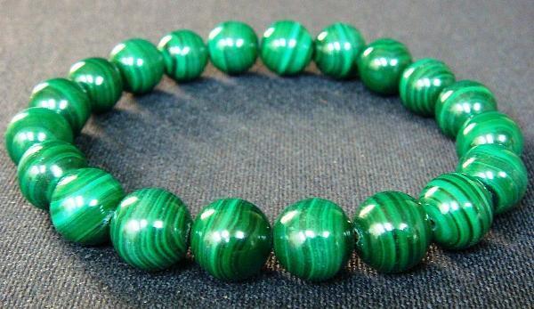 Malachite Bracelet 10 Mm Grade A Natural Stone Health Luck Good