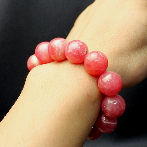 AAAA grade incarose bracelet 16 mm natural stone and power stone and rhodochrosite and romance luck and love luck