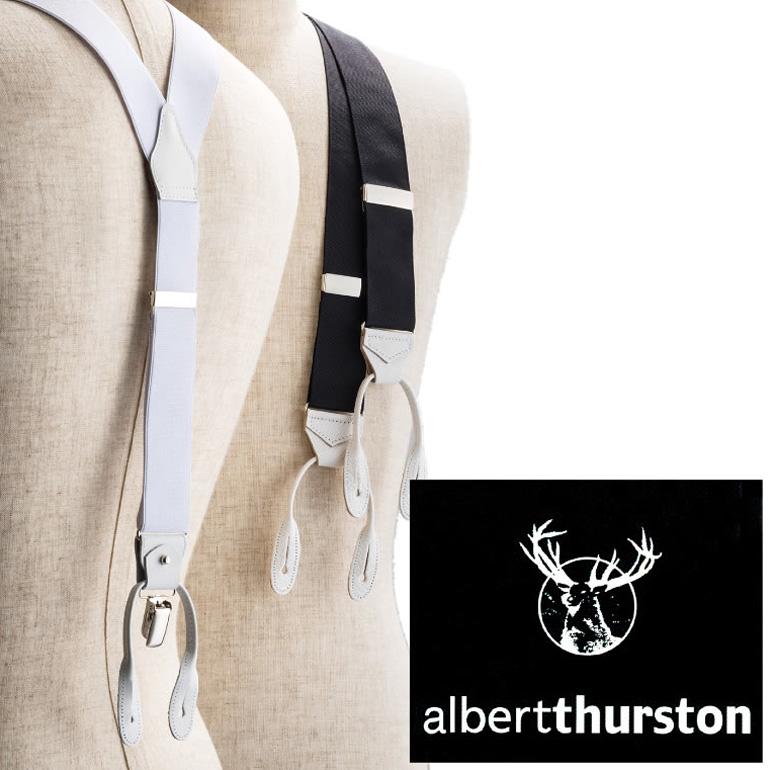 アルバートサーストン サスペンダー ALBERT THURSTON メンズ[フォーマル/結婚式/ブライダル/パーティー/ビジネス/紳士用/ブランド/イギリス/英国/ボタン/クリップ/2WAY/黒/ブラック/白/ホワイト]【送料無料】
