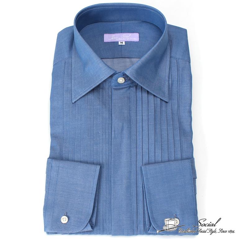 ブランド social ワイシャツ デニムライク カインドウェア ドレスシャツ 男性 男 紳士/ACGYD100B- [シャツ Yシャツ フォーマル タキシード カインドウェア ブランド シャンブレー 無地 ピンタック レギュラーカラー コンバーチブルカフス ブルー 青 カジュアル おしゃれ]