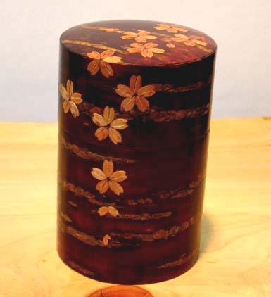 桜皮 総皮茶筒(大)桜花 桐箱入 樺細工 和食器