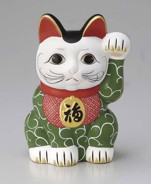 招き猫 緑 唐草 かわいい おしゃれ 貯金箱 手書き デコ プレゼント 子供