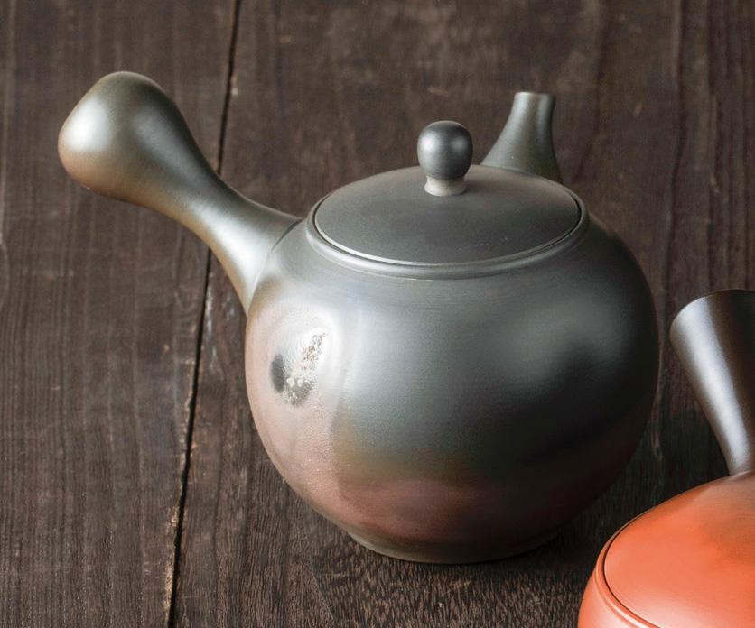 急須 弘二作 丸火窯変 陶製茶こし 290cc 化粧箱入