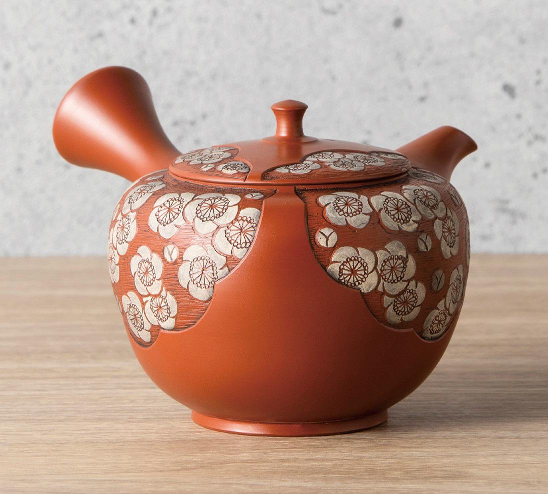 急須 舜園作 朱泥白梅彫 陶製茶こし 210cc 木箱入
