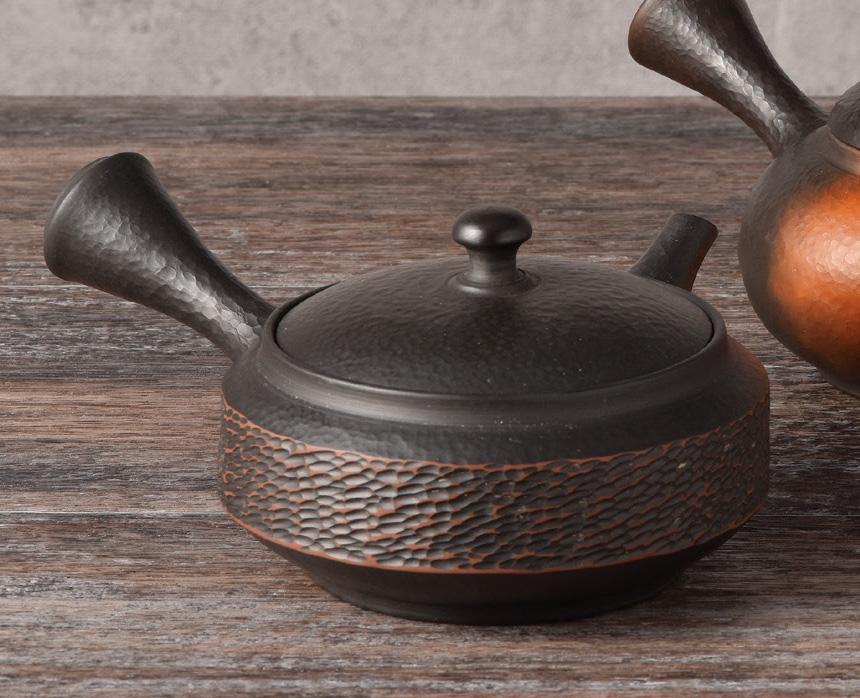 急須 益規作 黒カット 陶製茶こし 210cc 木箱入