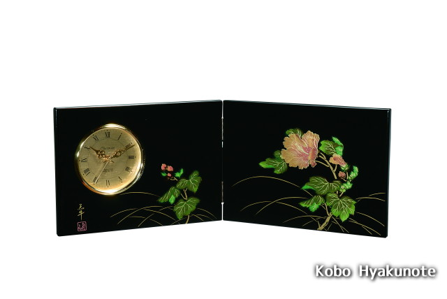 屏風時計 黒 紀の花