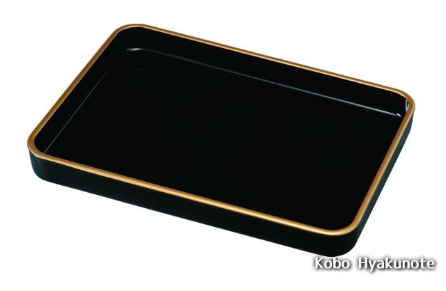 賞状盆 うるし塗 金渕付 16.0