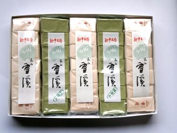 全国観光連盟推奨品富山平野の東に聳える立山は日本三霊山の一つ 感謝価格 倉庫 雪渓本舗宝屋 立山雪渓 白3本 抹茶2本 全国観光連盟推奨品 箱入り 富山銘菓