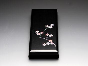 天野漆器:ペンBOX 枝桜(黒) 貝入