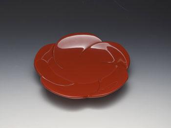 天野漆器:菓子鉢 梅彫(朱)