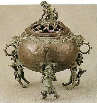 織田幸銅器:香炉「三獅子玉型」/開町400年伝統高岡銅器