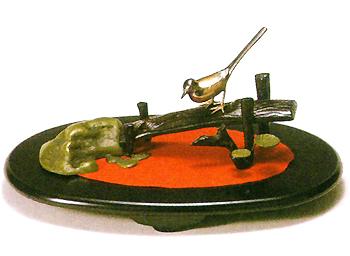 織田幸銅器:「土橋にセキレイ」(小判台別途)高岡の伝統工芸/美術品/銅器