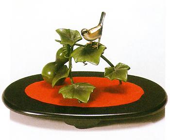 織田幸銅器:「瓢箪に小鳥」(小判台別途)高岡の伝統工芸/美術品/銅器