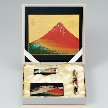 まえじゅう漆器「ステーショナリーセット E 赤富士」 山中漆