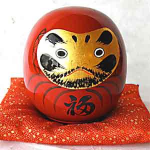タジマ「丸福だるま/朱 T16-09」 縁起物 七転八起のだるま